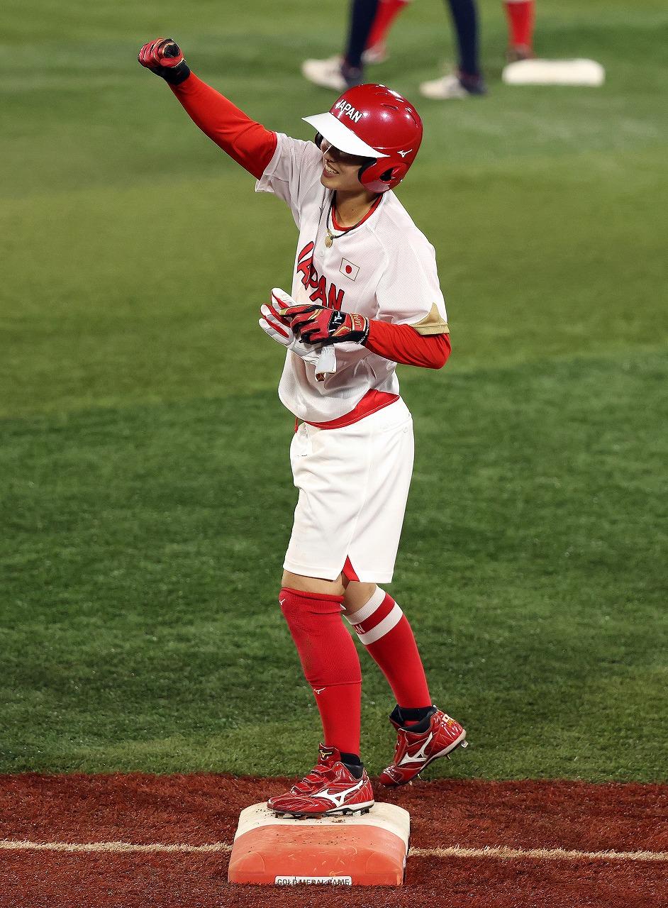 好走塁で先制の適時打をマークした渥美。守備でもファインプレーを見せた(Getty Images)